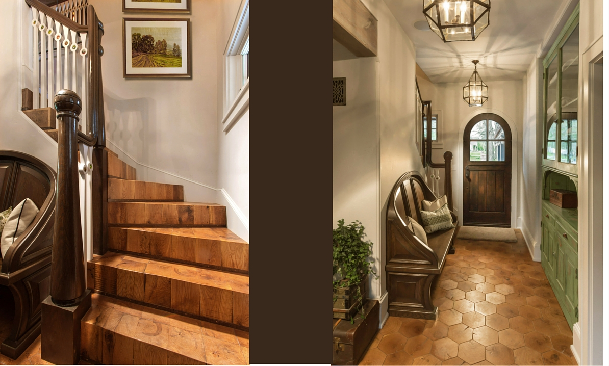 Front Hall, green cabinet, end grain stair, arched door